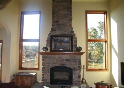 Brick Stone Fireplace Photo